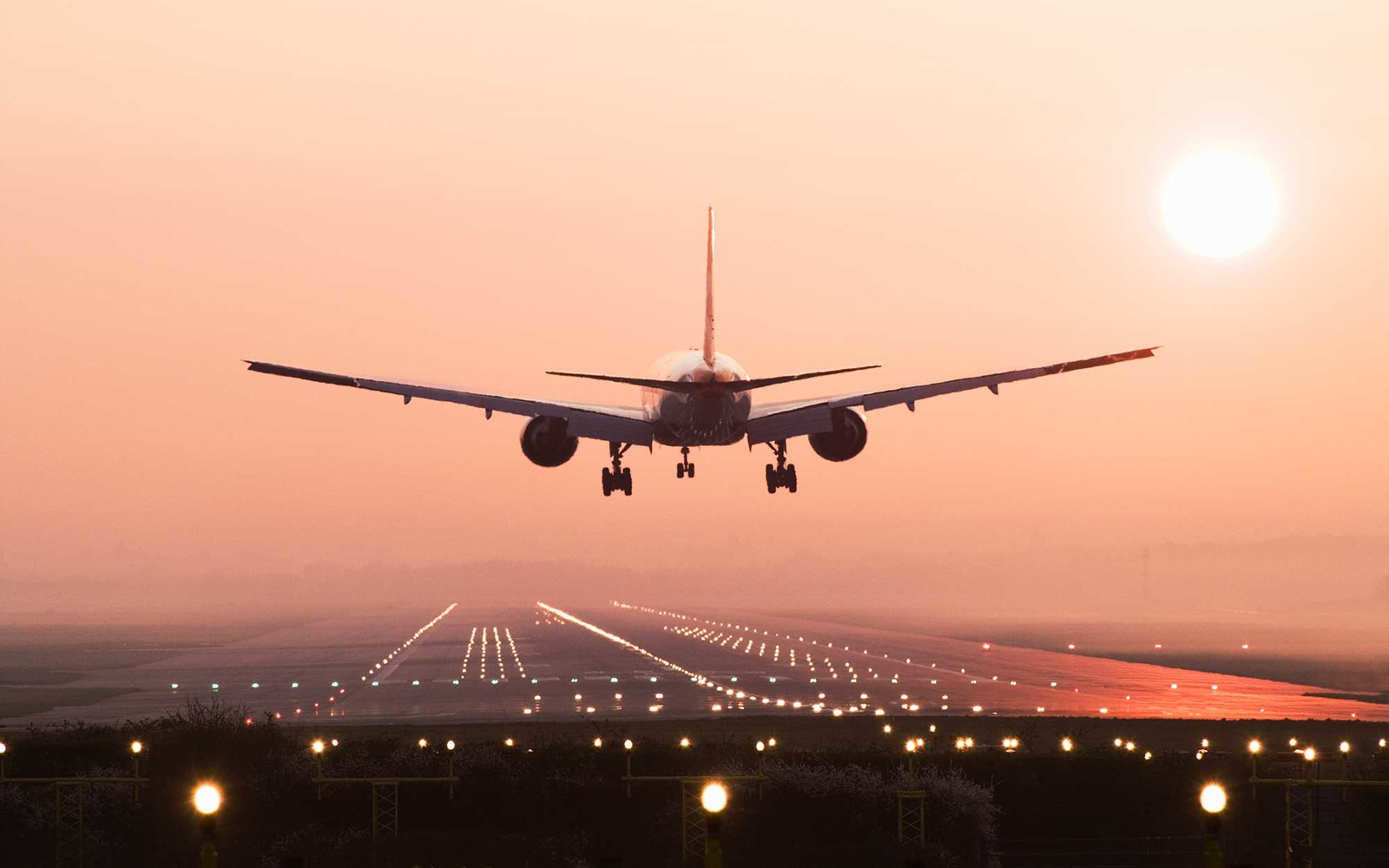Aircraft landing on the Roissy runway